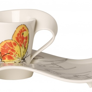 Kultowa już kolekcja NewWave filiżankom i kubkom nadała nowe życie. Tym razem na porcelanie o falistych kształtach z charakterystycznie zakręconym uchem swoje miejsce znalazły tropikalne motyle. Fot. Villeroy & Boch