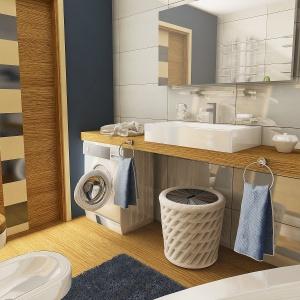 W łazience nie brakuje niebieskich dodatków. Dom Kalandra (A). Projekt: arch. Maja Klimowicz. Fot. Dom dla Ciebie Pracownia Projektowa Archeco