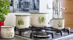 Kolekcja garnków emaliowanych z dekoracyjnym motywem ziołowym idealnie pasuje do każdej aranżacji, ożywia i wprowadza do wnętrza naturalne ciepło. Walory użytkowe oraz interesujący design czynią z niej świetną propozycję do każdej kuchni.