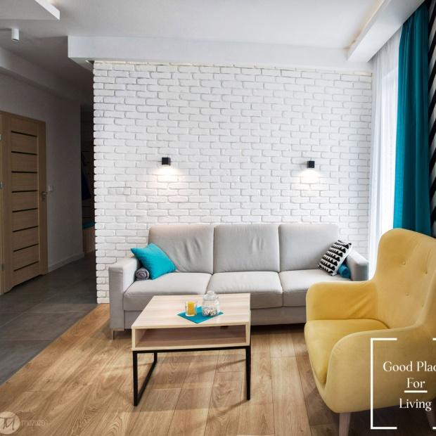 Nowoczesne wnętrze - mieszkanie w słonecznych kolorach
