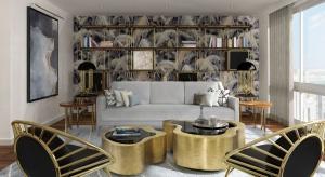 Imponujący widok za oknami oraz wspaniały połysk czerni i złota wewnątrz apartamentu podkreśla wyjątkowe połączenie stylów. Elementy vintage spotykają się tutaj z nowoczesnymi.
