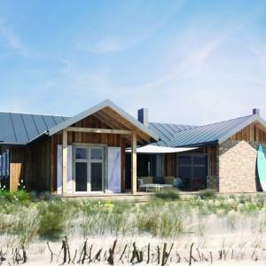 Typowo letni dom, ale zaprojektowany tak, żeby można było korzystać z niego przez cały rok. Lekka, drewniana konstrukcja, prosta architektura, nieskomplikowana realizacja. Można zrealizować go w dowolnej lokalizacji. Dom WD1 – z letnią kuchnią na tarasie. Projekt: arch. Sylwia Strzelecka. Fot. S&O Projekty Sylwii Strzeleckiej
