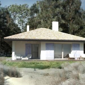Dom S24 równie dobrze może służyć do stałego zamieszkania dla niewielkiej rodziny. Doskonale wpisze się w wiejski krajobraz nad morzem, nad rzeką, blisko jeziora. Pow. użytkowa 86 m2, koszt budowy - ok. 150.000. Dom S24. Projekt: arch. Sylwia Strzelecka. Fot. S&O Projekty Sylwii Strzeleckiej