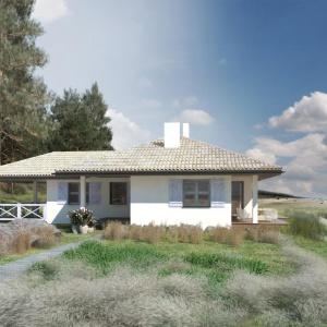 Dom został zaprojektowany jako mały domek wakacyjny z myślą o weekendowych wypadach na działkę poza miasto i jako domek plażowy.   Dom S24. Projekt: arch. Sylwia Strzelecka. Fot. S&O Projekty Sylwii Strzeleckiej
