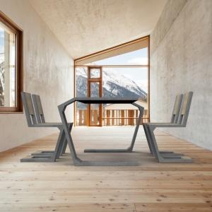 We wnętrzach minimalistycznych krzesła i stoły wykonane z betonu architektonicznego stanowią wyjątkową ozdobę i alternatywę dla mebli drewnianych, ze szkła czy tworzyw sztucznych. Na zdjęciu: kolekcja Gravity, Modern Line, projekt Jakub Sojka