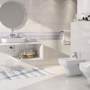 Aranżacja łazienki: wybierz niebieski. Kolekcja płytek Elegant Stripes. Fot. Opoczno