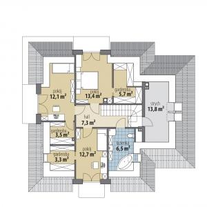 Rzut poddasza: 64,50 m2  1. hol – 7,30 m2 2. łazienka – 6,60 m2 3. pokój – 12,70 m2 4. garderoba – 3,30 m2 5. garderoba – 3,50 m2 6. pokój – 12,10 m2 7. pokój – 13,40 m2 8. garderoba – 5,70 m2 9. strych* – 13,80 m2 Dom Aria. Projekt: Marcin Abramowicz, Jagoda Gruca. Fot. dobre Domy