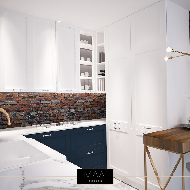 Aranżacja nowoczesnej kuchni z cegłą na ścianie
