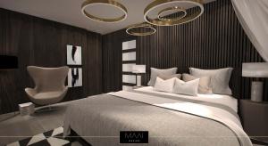 Właściciele zapragnęli stworzyć w swoim domu miejsce specjalne dla ich gości, którzy poczują się u nich jak podczas pobytu w hotelu. W tym celu powstała przytulna sypialnia.