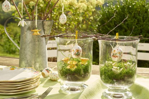 Wielkanocy  stół - dekoracje inspirowane naturą