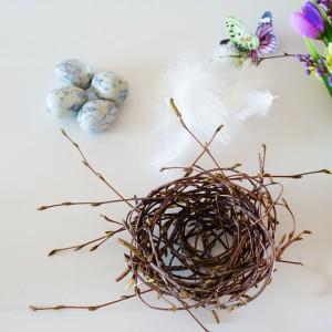 Krok 6 - Do uzupełnienia gniazdka potrzebujesz wydmuszek jaj przepiórczych oraz piórek.  Kolor wydmuszek jak i piórek możesz dobrać do kolorystyki swoich kwiatów.