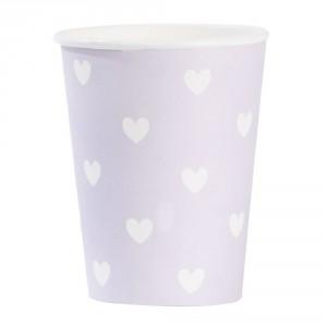 Komplet papierowych kubeczków Lavender Hearts 8 szt. Cena: ok. 30zł. Fot. Bonami.pl