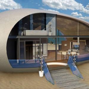 Zadokowane na plaży nowoczesne jajo może być całkiem luksusowym domem na wakacje. Fot. BMT Asia Pacifc Group/Henry Ward Design