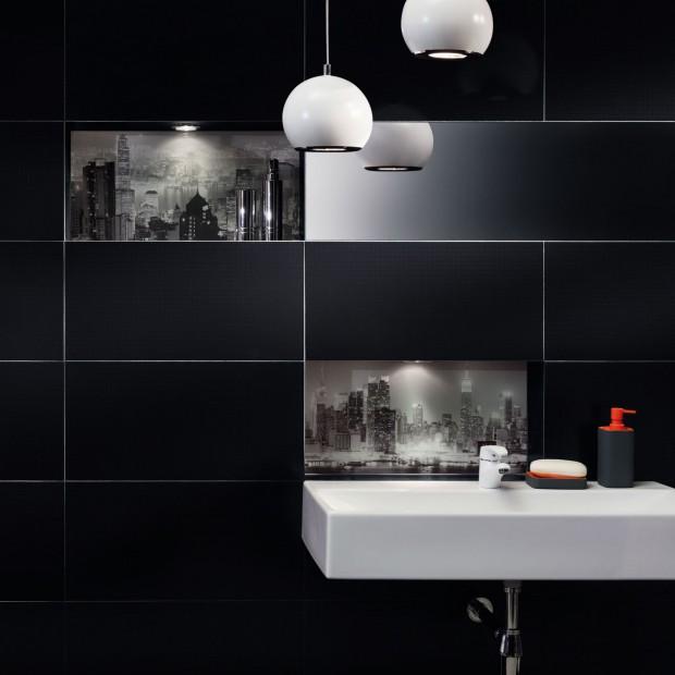 Łazienka w czerni: zobacz ciekawą kolekcję płytek