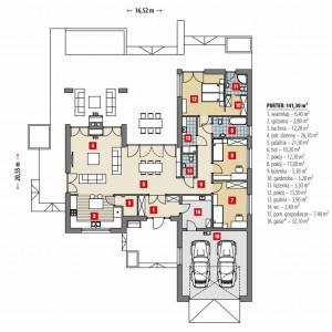 PARTER: 141,30 m2 1. wiatrołap – 6,40 m2 2. spiżarnia – 2,80 m2 3. kuchnia – 12,20 m2 4. pok. dzienny – 26,10 m2 5. jadalnia – 21,30 m2 6. hol – 10,20 m2 7. pokój – 12,30 m2 8. pokój – 110 m2 9. łazienka – 5,30 m2 10. garderoba – 3,20 m2 11. łazienka – 3,30 m2 12. pokój – 13,50 m2 13. pralnia – 3,90 m2 14. wc – 2,40 m2 15. pom. gospodarcze* – 7,40 m2 16. garaż* – 32,10 m2 Fot. Dobre Domy