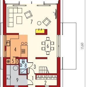 PARTER: 1. wiatrołap - 1,95 2. garderoba - 4,79 3. hol - 9,99 4. kuchnia - 10,57  5. spiżarnia - 1,36 6. jadalnia - 14,57 7. pokój dzienny - 30,42 8. łazienka - 2,38 9. kotłownia - 7,44