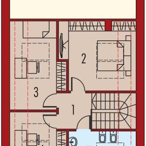 PODDASZE: 1. korytarz - 4,23 2. sypialnia - 15,04 3. sypialnia - 12,13 4. sypialnia - 10,28 5. łazienka - 11,00