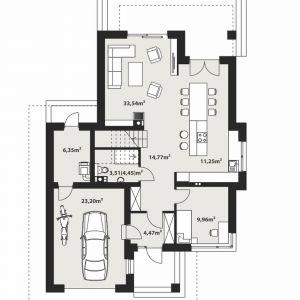PARTER: 83,66 m2 1. sień – 4,47 m2 2. hol – 14,77 m2 3. wc – 3,51 m2 (4,45 m2) 4. salon – 33,54 m2 5. kuchnia + jadalnia – 11,25 m2 6. pokój – 9,96 m2 7. kotłownia – 6,35 m2 8. garaż* – 23,20 m2 *pomieszczenia niewliczone do powierzchni użytkowej