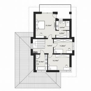 PIĘTRO: 74,14 m2 1. hol – 7,87 m2 2. sypialnia – 21,32 m2 3. łazienka – 5,47 m2 4. garderoba – 4,29 m2 5. sypialnia – 11,86 m2 6. sypialnia – 15,19 m2 7. łazienka – 8,14 m2