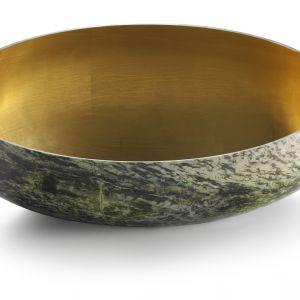 Owalna umywalka GONG inspirowana tybetańskimi dzwonami, wyrzeżbiona z marmuru, proj. Enzo Berti. Fot. Kreoo