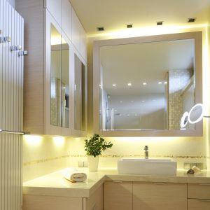 Oświetlenie lustra w łazience. Projekt: Małgorzata Borzyszkowska. Fot. Bartosz Jarosz