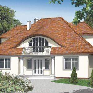 Projekt reprezentacyjnego domu z poddaszem użytkowym i garażem dwustanowiskowym. Miłe kolumienki strzegące wejścia, dostojny dach i wzbierająca fala lukarny nad wejściem tworzą niepowtarzalny klimat. Projekt: Karmen II. Fot. Domowe Klimaty
