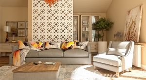 Elegancko urządzone mieszkanie na poddaszu. Dominują tu ciepłe barwy, jak beże czy bursztyn.