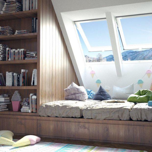 Oświetlenie pokoju dziecięcego: okna dachowe i lampy