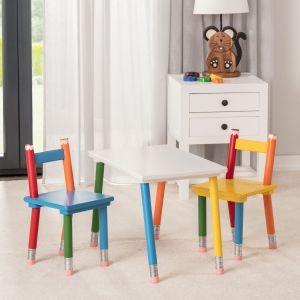 Meble i zabawki dla dziecka. Zestaw Pencil: stolik i 2 krzesełka. Fot. Dekoria.pl