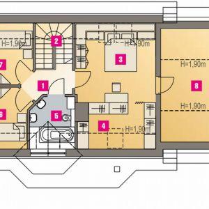PODDASZE: 45,70 m2 (61,30 m2) 1. schody – 1,80 m2 2. przedpokój – 3,50 m2 3. sypialnia – 15,20 m2 (18,40 m2) 4. garderoba – 3,20 m2 (6,30 m2) 5. łazienka – 4,80 m2 (5,60 m2) 6. sypialnia – 9,30 m2 (12,50 m2) 7. sypialnia – 9,70 m2 (13,20 m2) 8. strych – m2  *pomieszczenia niewliczone do powierzchni użytkowej