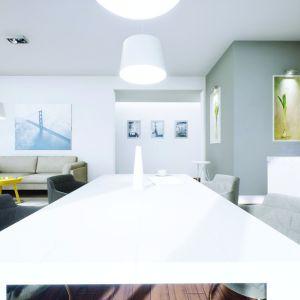 Minimalistyczny stół w jadalni okalają ciekawe tapicerowane krzesła. Projekt: Daniel 2 G1, Fot.  Pracownia Projektowa Archipelag