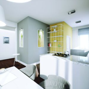 Żółte akcenty pojawiają się również w kuchni. Projekt: Daniel 2 G1, Fot.  Pracownia Projektowa Archipelag