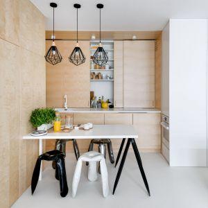 Salon płynnie łączy się z jadalnią i kuchnią. Użyta w tej realizacji sklejka ładnie łączy się z bielą i sprawia, że wnętrze jest przyjazne i ciepłe. Fot. Stanisław Zajączkowski / Zajaczkowski Photography