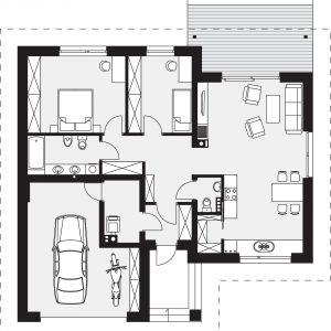 PARTER: 85,78 m2 1. sień – 3,37 m2 2. hol – 9,71 m2 3. łazienka – 5,79 m2 4. pokój – 15,64 m2 5. pokój – 10,15 m2 6. salon – 20,45 m2 7. kuchnia + jadalnia – 12,96 m2 8. spiżarnia – 1,85 m2 9. wc – 1,52 m2 10. kotłownia – 4,34 m2 11. garaż* – 24,67 m2