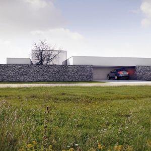 Domy w stylu minimalistycznym. Projekt: Dom z murem. Projekt i zdjęcie: Kluj Architekci