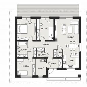 PARTER: 116,96 m2 1. wiatrołap – 5,40 m2 2. hol – 14,93 m2 3. wc – 1,66 m2 4. sypialnia – 11,55 m2 5. łazienka – 5,81 m2 6. sypialnia – 15,74 m2 7. sypialnia – 13,71 m2 8. salon + jadalnia – 32,48 m2 9. kuchnia – 7,71 m2 10. spiżarnia – 1,37 m2 11. kotłownia – 6,60 m2 *pomieszczenia niewliczone do powierzchni użytkowej