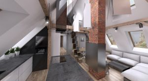 Projekt zakładał wyczyszczenie istniejącego poddasza ze wszelkich przegród, ścianek, a pozostawienie widocznej konstrukcji, odświeżenie oryginalnej drewnianej podłogi oraz zaprojektowanie antresoli z sypialnia i prysznicem dostępnej z biura oraz