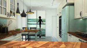 Geometryczny wzór monochromatycznych płytek pasuje do czarnych akcentów w kuchni.