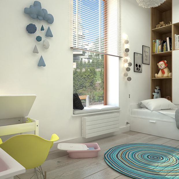 Piękny pokój dziewczynki w skandynawskim stylu