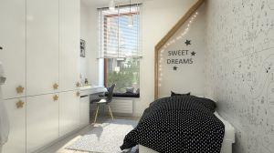 Drewniana zabudowa nad łóżkiem przypomina domek - prywatna strefa snu.