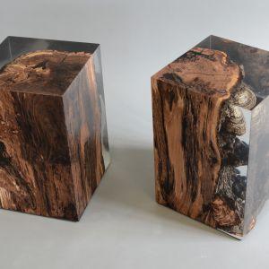 Stołek Fungi to zatopiony w transparentnej żywicy element drewna jabłoni. Fot. Galeria Heban