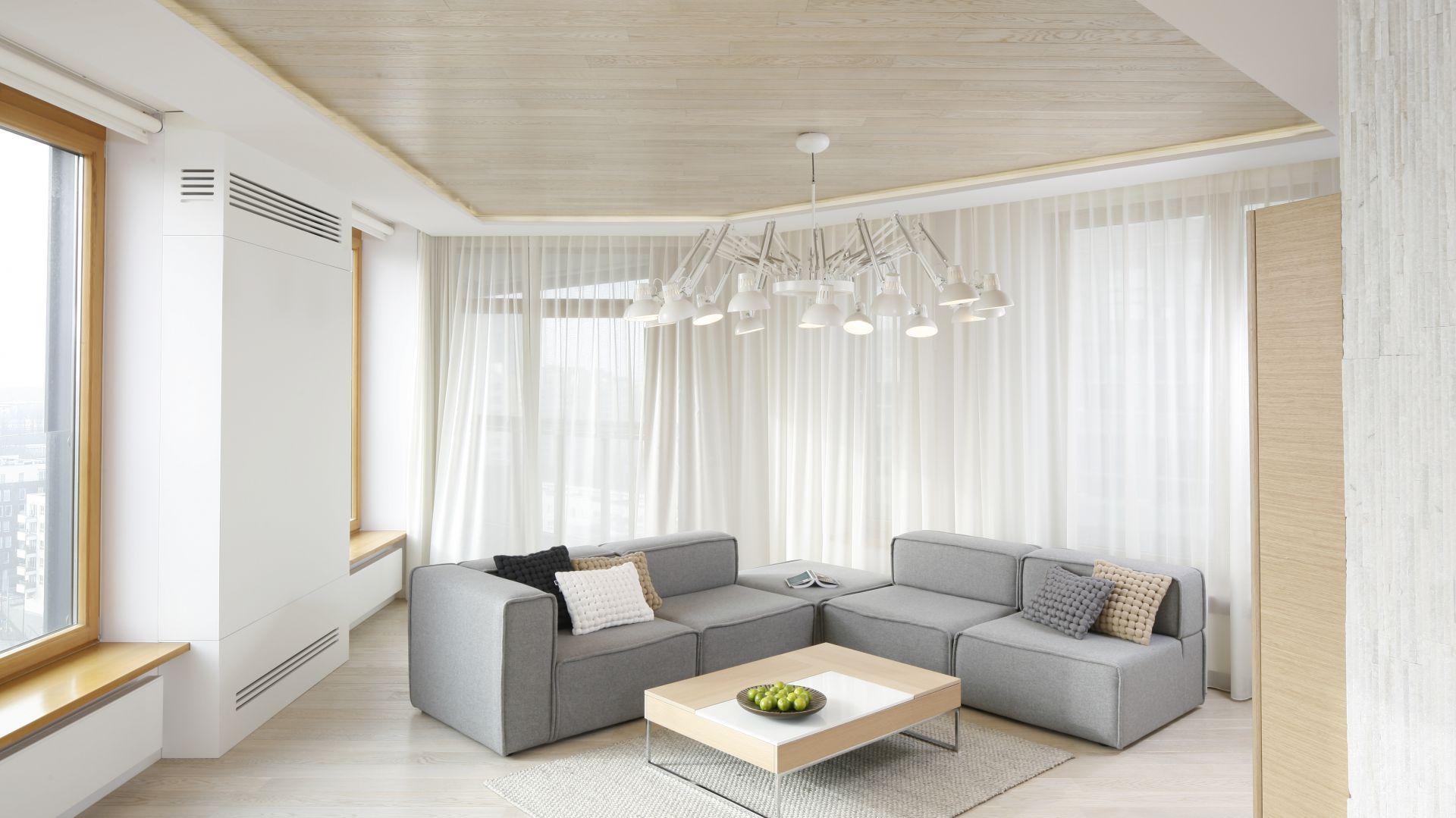 Salon w stylu skandynawskim jest zwykle jasny i bardzo przytulny. Projekt: Maciej Brzostek. Fot. Bartosz Jarosz