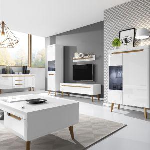 Nordi to kolekcja idealna do małych wnętrz. Biała kolorystyka i wysokie nóżki mebli optycznie powiększą pomieszczenie. Fot. Agata S.A.
