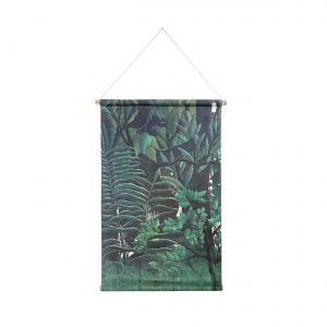 Dekoracja ścienna Las z drukowanej bawełny na drewnianej ramie; 85x60x2,5 cm, HK Living,