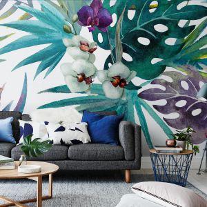 Liście hibiskusa i kwiaty orchidei tworzą wzór fototapety ORCHIDEA na podkładzie winylowym. Fot. Pixers
