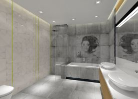Projekt łazienki w szarościach - MKdezere