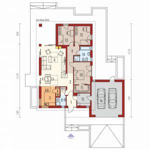 Parter: 1. Wiatrołap 3.82 m² 2. Hol 5.68 m² 3. Kuchnia 10.48 m² 4. Spiżarnia 1.29 m² 5. Jadalnia + schody 11.58 m² 6. Pokój dzienny + schody 26.37 m² 7. Garderoba 1.70 m² 8. Łazienka 3.51 m² 9. Korytarz 8.71 m² 10. Sypialnia 14.18 m² 11. Garderoba 4.71 m² 12. Sypialnia 11.57 m² 13. Sypialnia 11.57 m² 14. Łazienka 7.21 m² 15. Kotłownia 6.31 m² 16. Garaż 38.63 m²