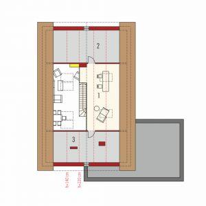 Poddasze: 1. Antresola 11.29 m²2. Pom. dodatkowe (np. strych) 9.81 m²3. Pom. dodatkowe (np. strych) 9.43 m²
