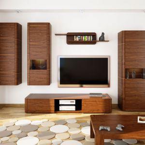 Kolekcja Varadero urzeka prostotą oraz pięknym kolorem drewna, które z tajemniczo podświetlonymi witrynami wprowadzają do salonu wyjątkowo elegancki styl. Fot. Paged Meble