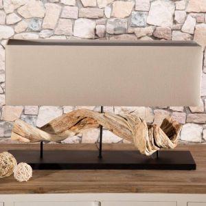 Ekologiczna lampa stołowa Nature wykonana z naturalnych materiałów – drewna i lnu. Połączenie falistej, drewnianej podstawy oraz beżowego klosza sprawia, że lampa stanowi niezwykły element dekoracyjny. Fot. Dekoria